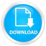 Download (document icon) cyan blue glossy round button
